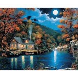 Moonlight and beautiful House near River