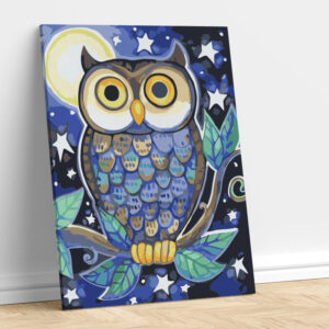 Abstract Owl in Moon Light