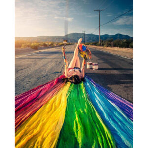 Beautiful Woman And Color on Road