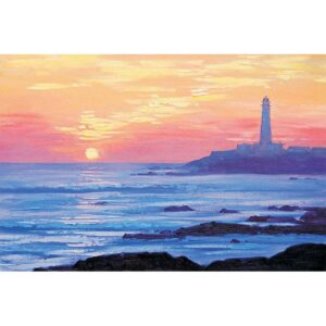 Beautiful sunset and the lighthouse