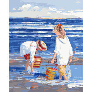 child cleaning the beach