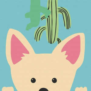 Coyote with Cactus