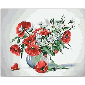 Red Flowers in a White Pot
