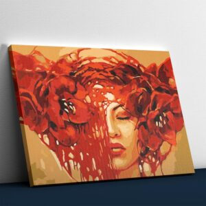 Flowers and Woman Abstract Painting